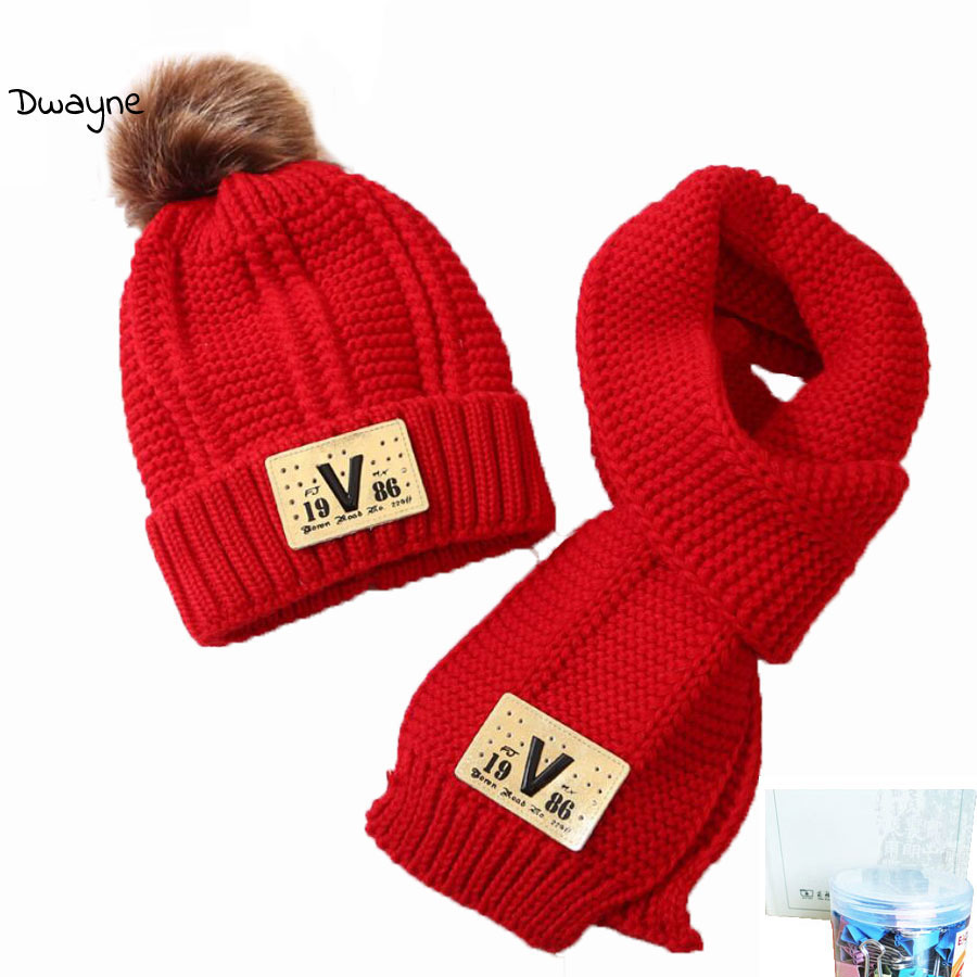 Child Knitted Fur Hats Scarf Set Winter Girl Hats And Scarves For Kids Solid Thick Ribbed Cable Add Velvet Cap Warm Suit M5263