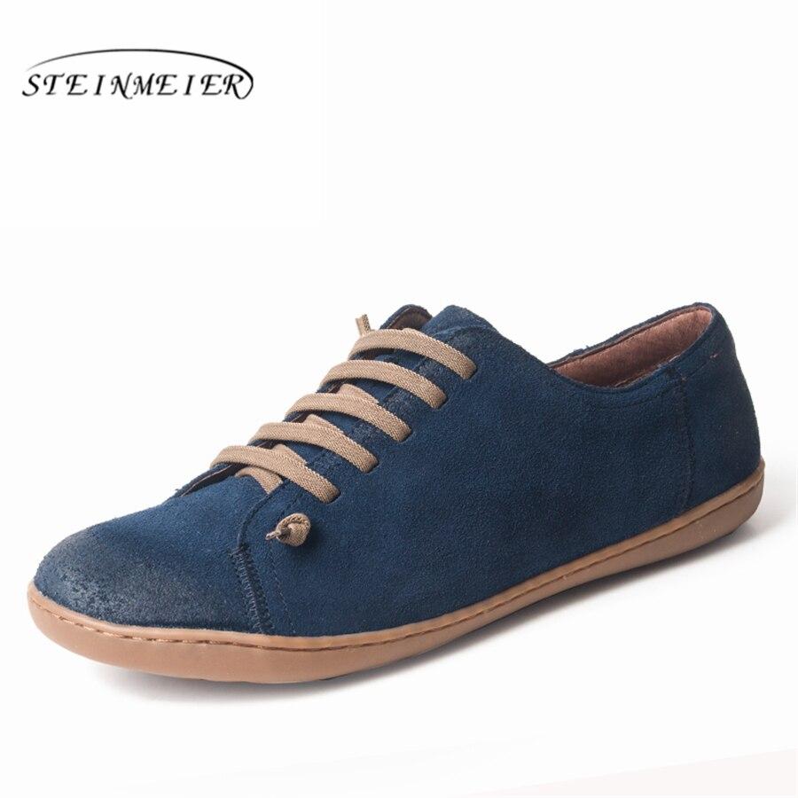 Femmes chaussures plates cuir daim véritable pieds nus chaussures femme décontractées Appartements baleriny sneakers chaussures femme chaussures 2019 printemps - 5
