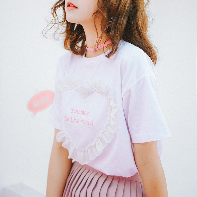 801bb14715 t-shirts 2018 korean summer bts harajuku shirt women funny fashion cute  pink heart-shaped love letter embroidered t-shirt women