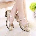 Nova primavera outono meninas low-salto alto pu leather shoes princesa strass casamento shoes crianças dance party shoes bebê de ouro