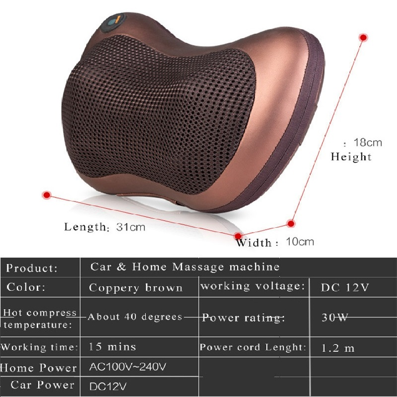 VamsLuna Electric Infrared Heating Massage Pillow Shiatsu with Heat For Cervical Shoulder Waist Muscle Pain Relieve in Massage Relaxation from Beauty Health