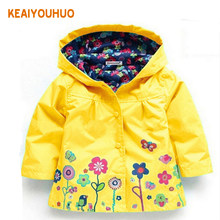 2-6 yrs Baby Girls Toddler hooded 2018 spring Autumn Girls Jackets casual Kids Outwear flower pattern Waterproof Children Coat(China)