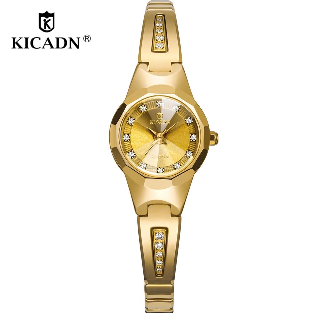 KICADN Womens Watches Luxury Fashion Rhinestones Ladies Wrist Watch Bracelets Female Watch Clock Gril Gifts Relogio Feminino