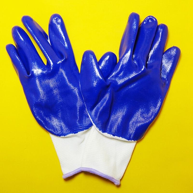 1 Paar Blau Öl-beweis Und Tragen-beständig Nylon Arbeit Handschuhe Schutz Sicherheit Arbeits Handschuh Beschichtet Atmungsaktiv Arbeit Sicherheit Handschuhe