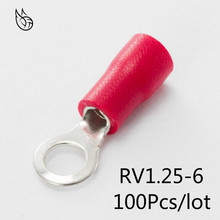 цена на RV1.25-6 Red 22-16 AWG 0.5-1.5mm2 Insulated Ring Terminal Connector Cable Wire Connector 100PCS/Pack RV1-6 RV