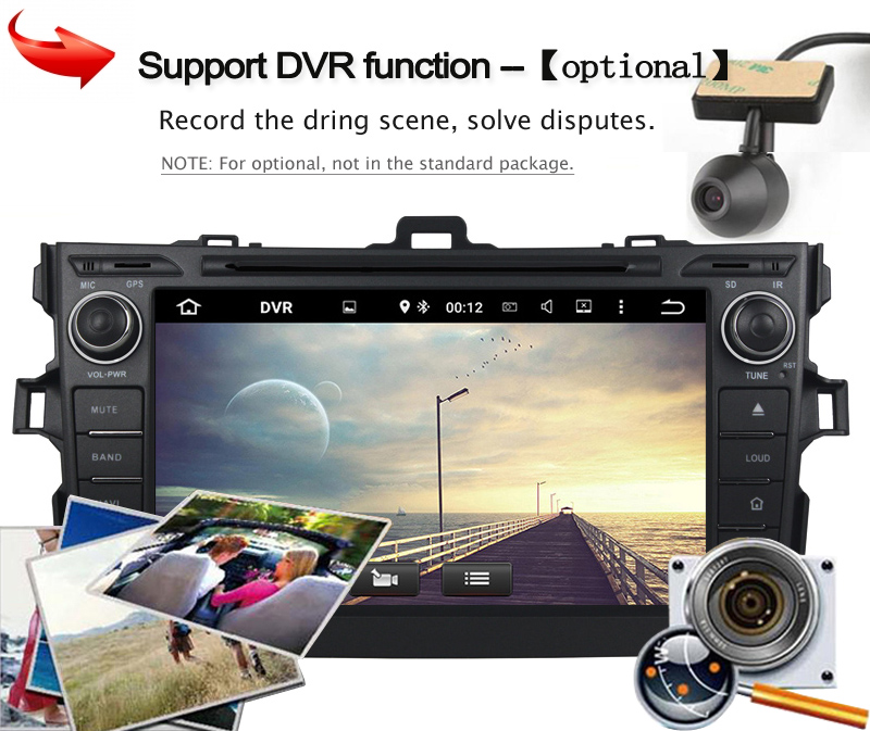 KANOR Android 5.1 car dvd player for Toyota Corolla 2007 2008 2009 2010 2011 Quad Core 8 inch 1024*600 screen car stereo radio