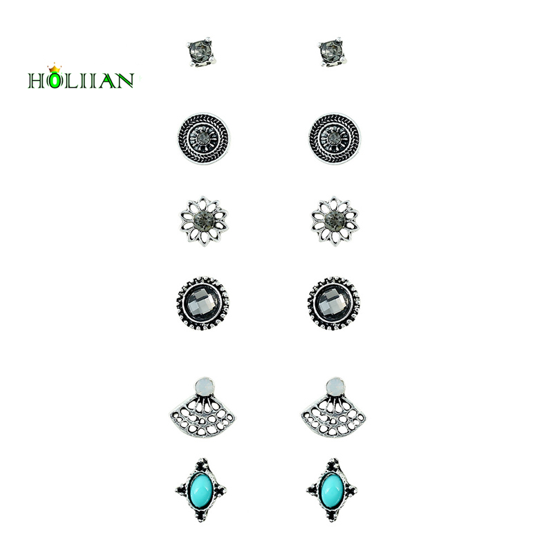 Women marble stone stud earring set supernatural crystal