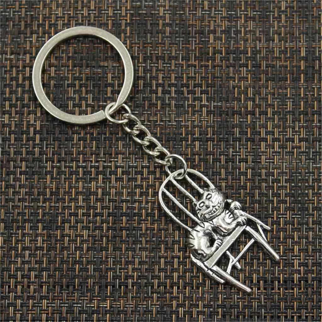 Preço de fábrica gato preguiçoso deitado na cadeira Pingente Chave Corrente de Metal Anel De Homens De Prata Carro de Presente Lembranças Keychain Dropshipping
