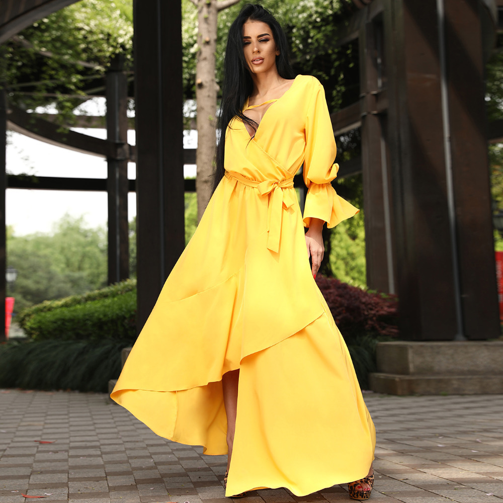 US $15.72 27% OFF|Summer Fashion Solid Color V Neck Yellow Women plus size  Dresses Asymmetrical Ruffle robe longue femme Wrap dress elegant-in Dresses  ...