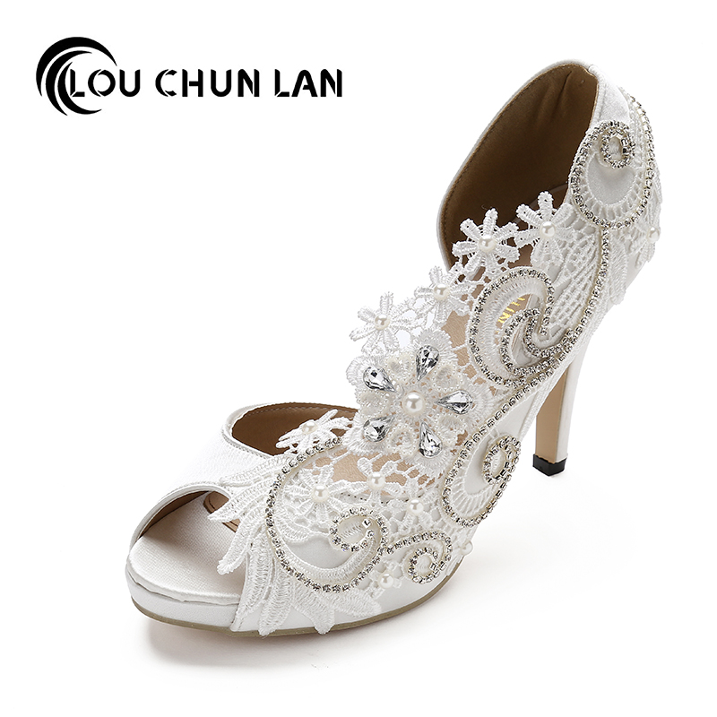 Women Shoes Pumps Wedding Shoes White Lace Open Toe Silks Satins Ultra High Heels Pearl Rhinestone