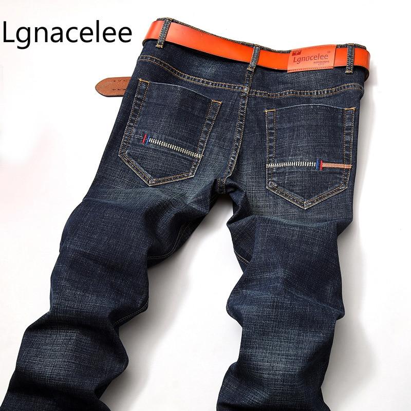 2018 Nuovi Jeans Degli Uomini Di Affari Casual Sottile Slim Fit Nero Jeans Stretch Denim Pantaloni Pantaloni Classici Cowboys Giovane Uomo Jeans Evidente Effetto