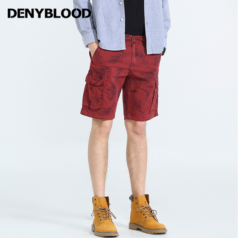 Denyblood Jeans Mens Shorts 2018 Summer New Arrival Print Cargo Short Cotton Chinos Capris Bermuda Beach Shorts 801A