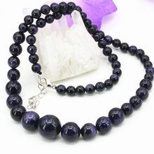 Natural blue sandstone stone beads 6-14mm round beads choker necklace fashion statement women tower chain jewelry 18inch B3193