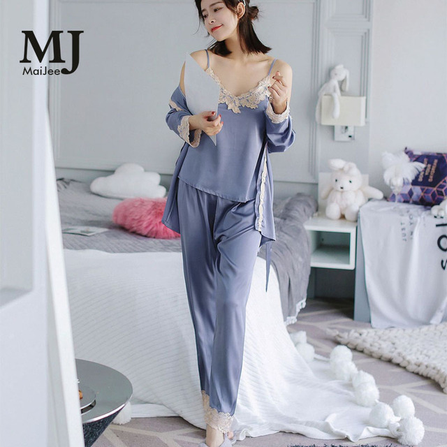collection entière gamme exceptionnelle de styles 2019 original € 18.44 25% de réduction|MaiJee 3Pic Pyjama soie Pijama Sexy Pyjama Femme  Combinaison Pigiama Donna haut dentelle Pijama Mujer Pijama Feminino  Pyjamas ...