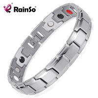 Rainso Brand 4 Elements Bio Magnetic Bracelets Healing Therapy Bracelet Silver Plated Stainless Steel Men Jewelry