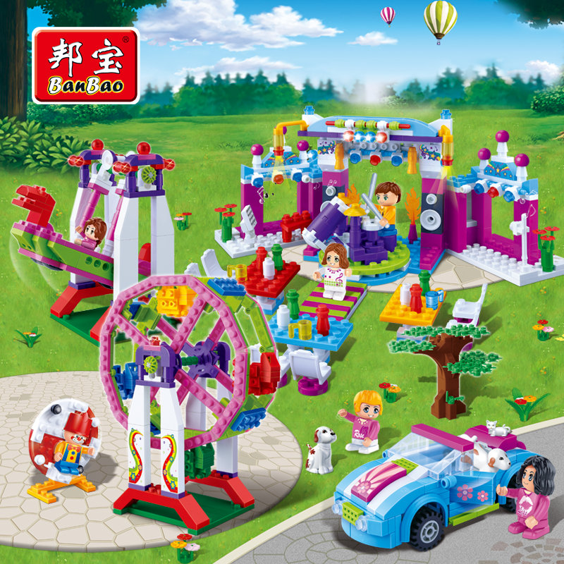 BanBao Girls Educational Building Blocks Toys For Children Kids DIY Gifts Friends City Car Pet Park decool 3114 city creator 3in1 vehicle transporter building block 264pcs diy educational toys for children compatible legoe