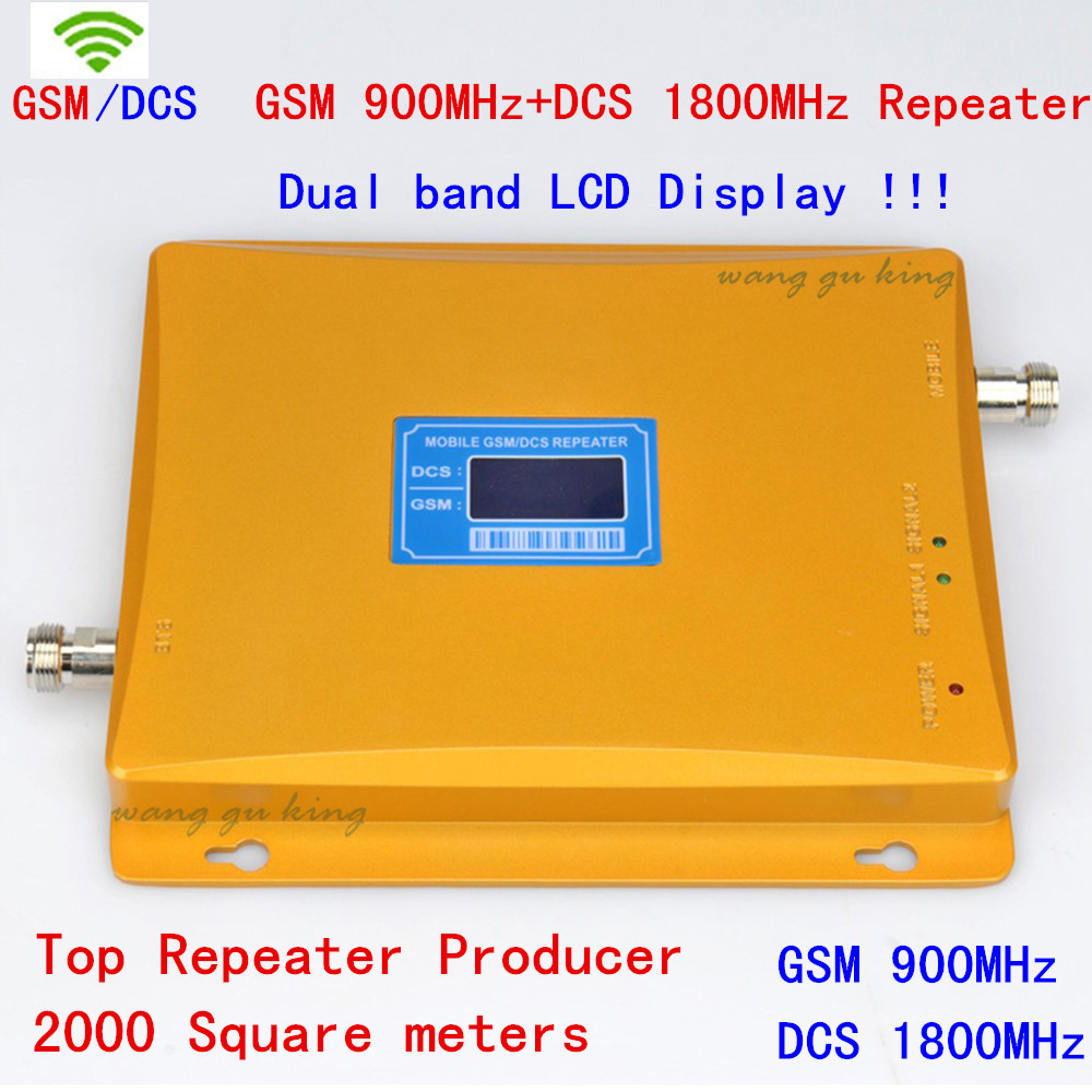 10 pcs/lot 900/1800 mhz amplificateur de signal mobile double bande + LCD!!! Répéteur de signal à double bande GSM DCS pour téléphone portable, amplificateur de signal