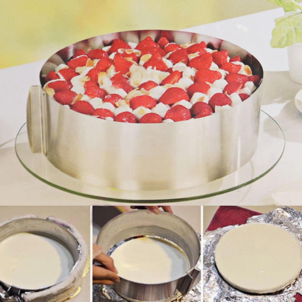 ჩამორთმეული უჟანგავი ფოლადის საკონდიტრო ხელსაწყოები წრე მუსი რინგის საცხობი ინსტრუმენტი მითითებული ზომა რეგულირებადი Bakeware Cake Mould ინსტრუმენტები