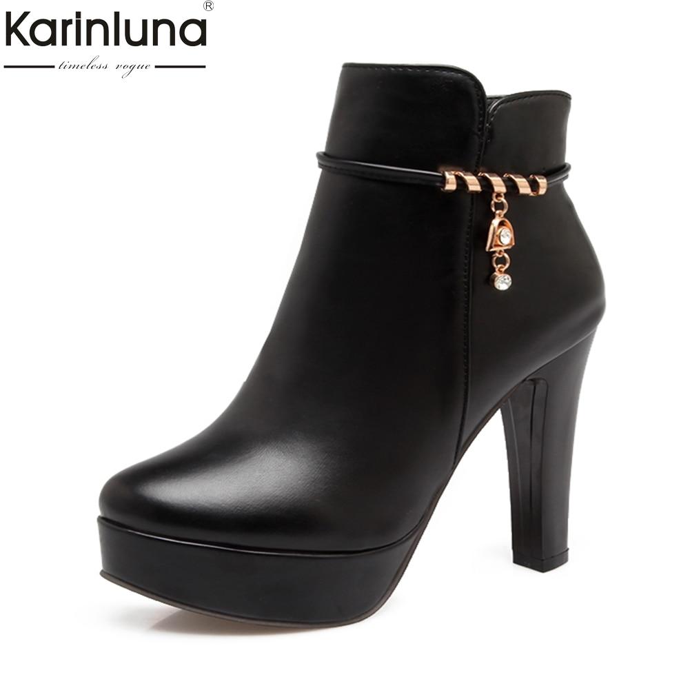 221a83a42 Comprar Nova Marca Plus Size 31 Karinluna 43 Botas do Tornozelo da  Plataforma Sapatas Da Mulher Zip Up escrit oacute;rio senhora Sapatos de Salto  Alto botas ...