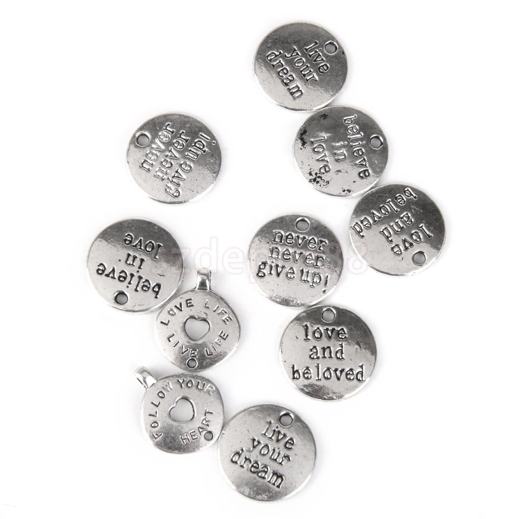 10 Vintage Silver Alloy Carved Letter Round Pendant Charms Fit Jewellery Making