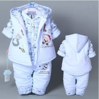 Hot 3 Pcs 2018 Baby Kids Fall Winter Clothing Set Newborn Thick Cotton Padded Clothes Boys Girls Hooded Vest Coat Tops Pant G107