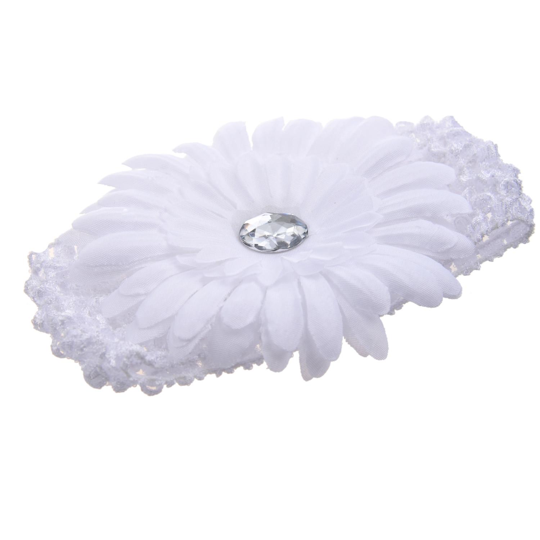 White Gerbera Daisy Flower White Crochet Headband Gerber Girls Child