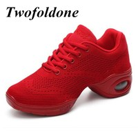 Quality Dance Shoes For Girls Sports Knitting Sneakers Women Practice Shoes Modern Jazz Dance Sneakers