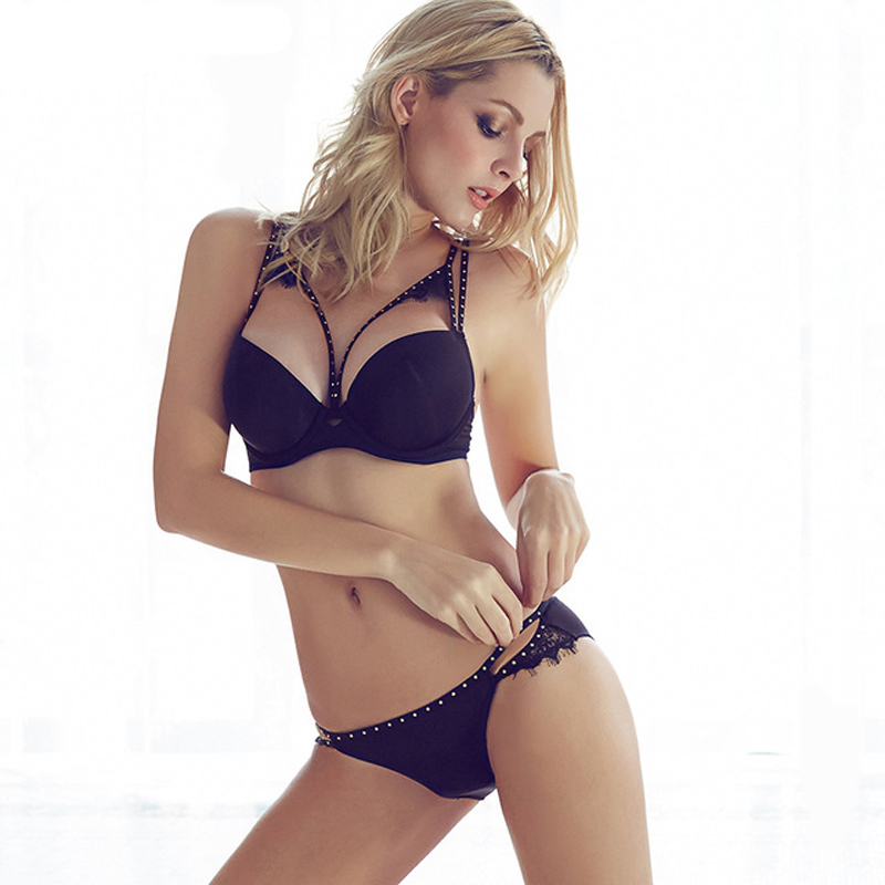 2016 Sexy Women Hot Seamless Bra Set 3/4 Cup adjustable Push up Vs Bra Lingerie Underwear Sets For Women 70-85A B C D Cup