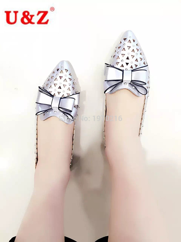 ФОТО 2016 Lovely big bow casual Shoes Beige/White/Silver leather,Breathable Women Flats triangle Hollow out sping summer loafer shoes