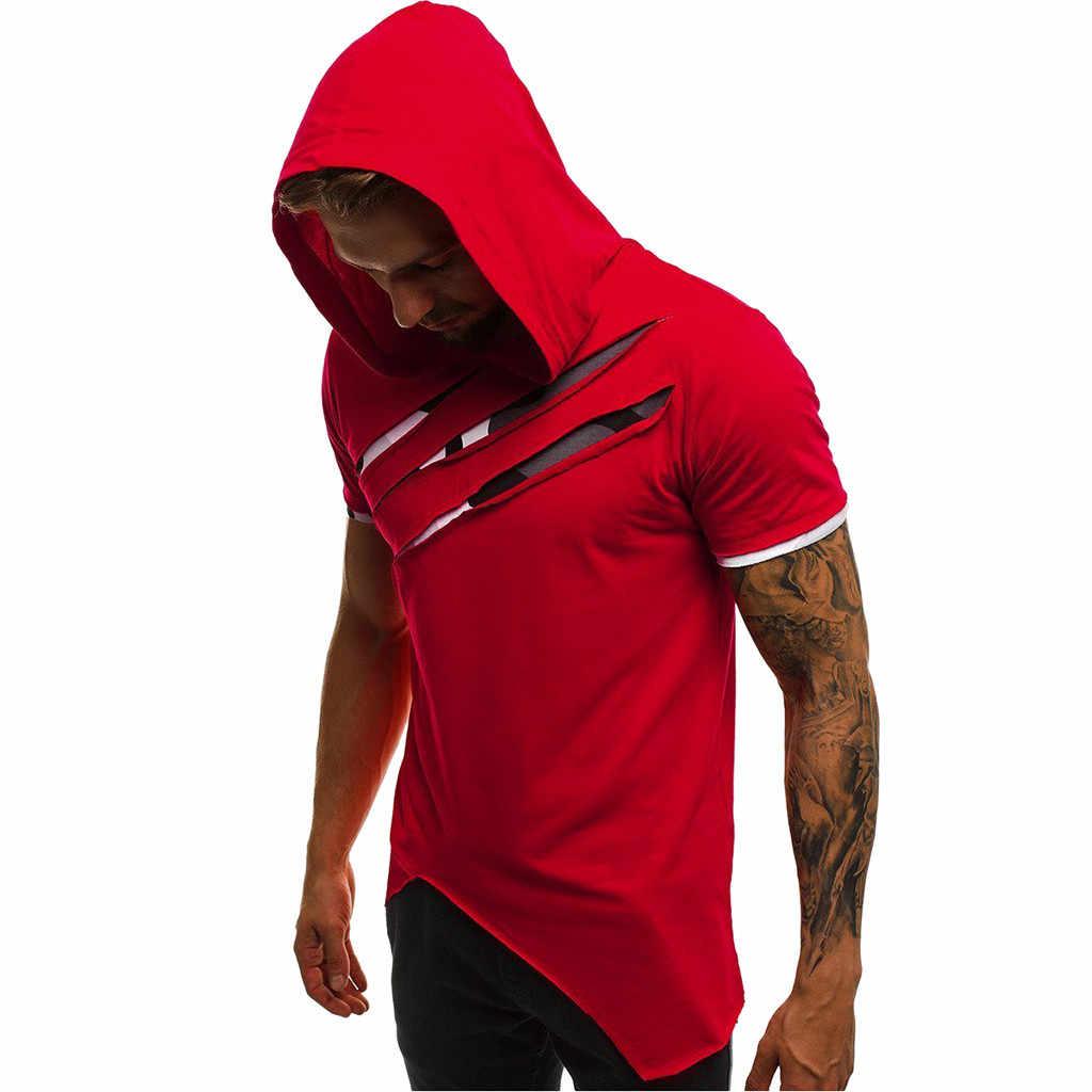 男性の Tシャツ Camisetas 夏スリム半袖フード付き Tシャツカジュアルパッチワーク男性 tシャツトップストリート Camisetas hombre