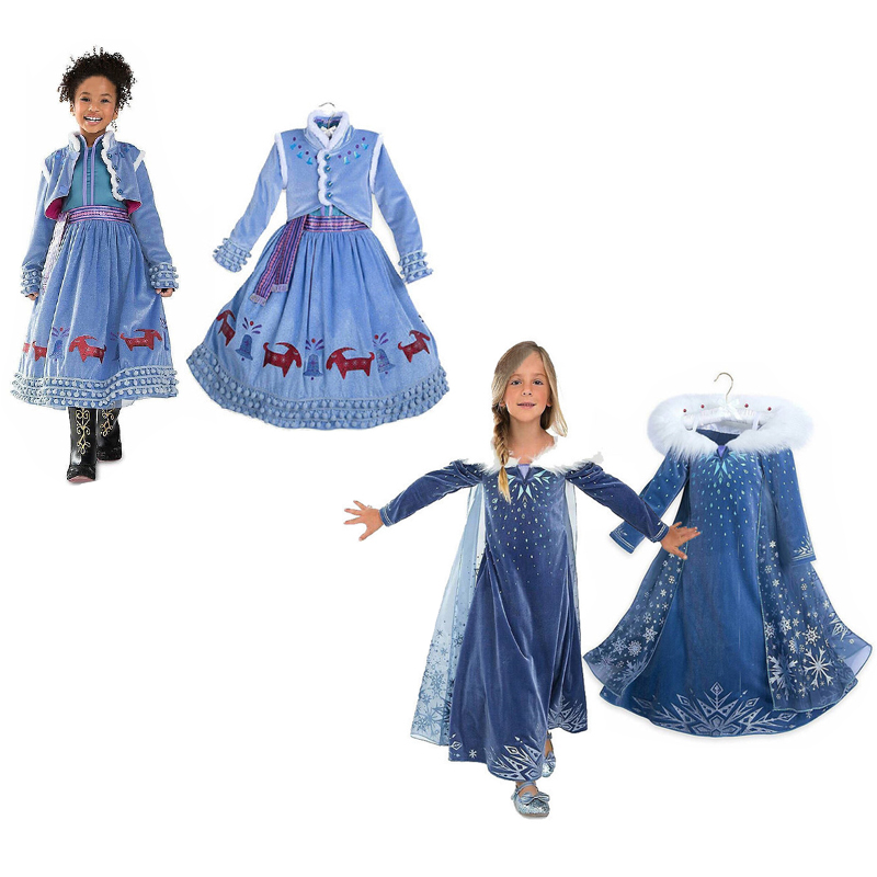 Elsa Dresses for Girls Winter Anna Elsa Princess Dress Kids Cosplay Costume Carnival Costume Party Dress Vestidos Girls Clothing