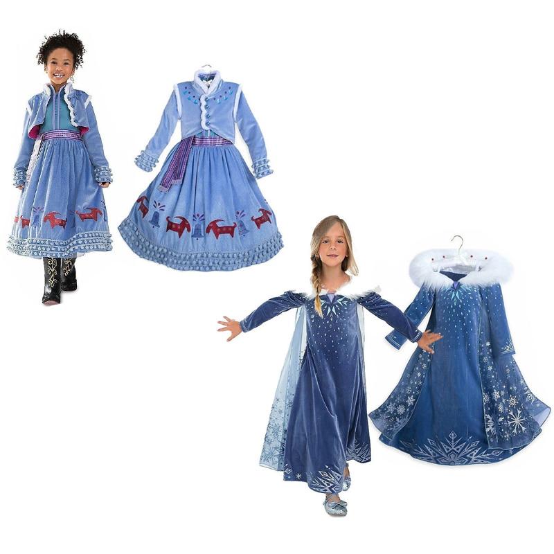 Elsa Dresses for Girls Winter Anna Elsa Princess Dress Kids Cosplay Costume Carnival Costume Party Dress Vestidos Girls Clothing