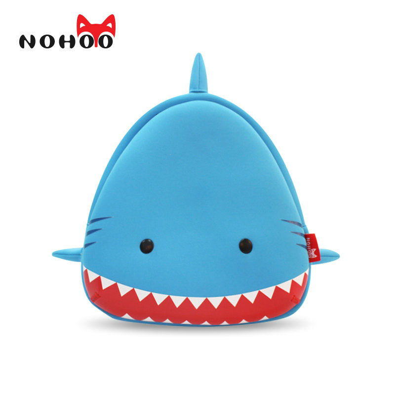 NOHOO Animals Shark Kids Baby Bags 3D Shark Waterproof Children School Bags For Girls Boys Kids Cute Real 3D Cartoon For Kids new children cartoon bags cute elephant mini handbag for girls boys pure cotton animals kids baby bags handmade a limited