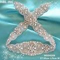 (1 peça) de contas Feitas À Mão costura vestidos de cristal prata limpar rhinestone appliques para o casamento nupcial sash belt WDD0209-WDD0630