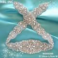 (1piece)Handmade beaded sewing bridal sash crystal silver clear rhinestone appliques for wedding dresses belt WDD0209-WDD0630