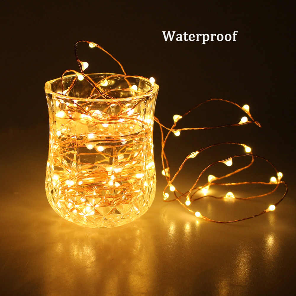 10 M 33ft 100led 3xAA Batterie Power Wasserdichte LED Kupfer Draht Warmes Weiß String Lichter Weihnachten Festival Hochzeit Party Decor