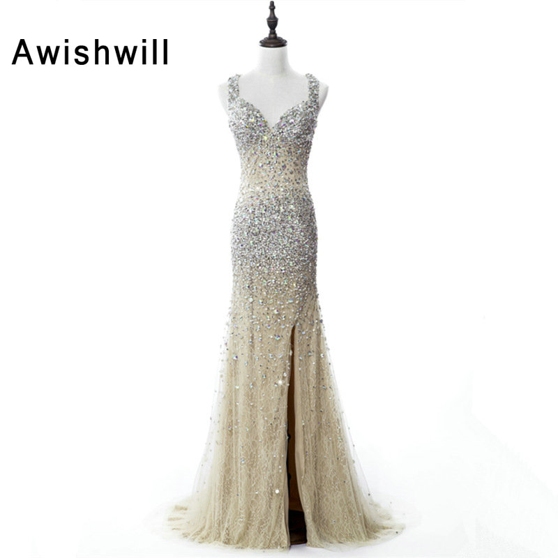 Real Photo Spaghetti Strap Front Slit Handmade Beadigs Rhinestones Lace Slim Formal Party Dress Elegant Long Prom Dress 2018