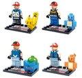 NEW hot 4 pçs/set Pikachu Figuras de Ação Building Blocks brinquedos Tijolos com cartão Compatível Nenhuma caixa!