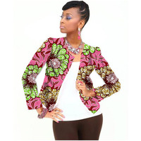 Full Sleeve Women African Print Jacket Dashiki Coat Short Trench Custom Pattern Design Africa Clothing