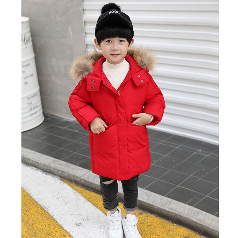 Kids Boys Winter Long Down Jackets Big Fur Collar Children Outerwear Coats Thick Warm White Duck Down Jacket For Boys 2-7 Years buenos ninos thick winter children jackets girls boys coats hooded raccoon fur collar kids outerwear duck down padded snowsuit