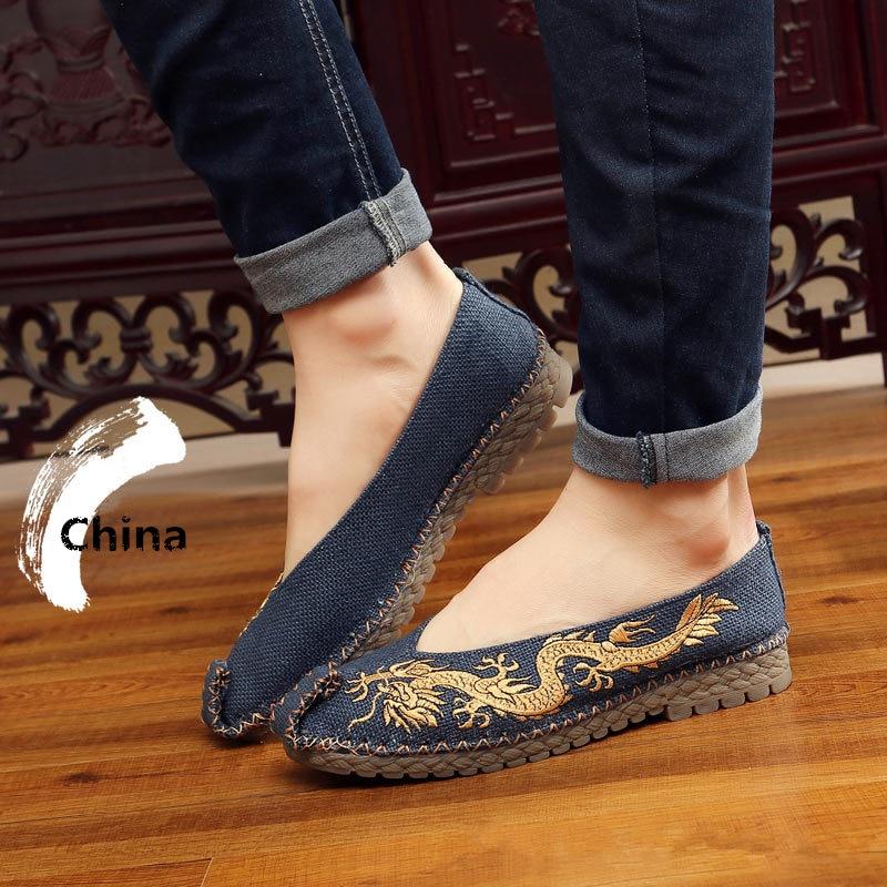 Misalwa Männlichen China Klassische Leinwand Casual Slipper Schuhe Blau Gelb Mesh Stoff Denim Ramie Hand-made Drachen Wohnungen Turnschuhe schuhe