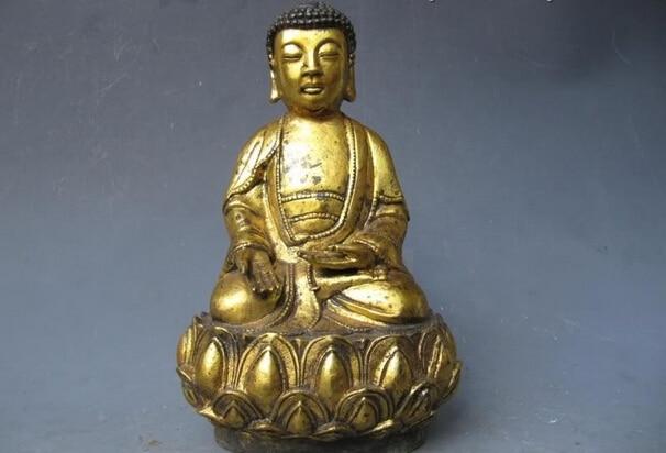 150401 S0718 9Tibet Buddhism classical Old Bronze Gild lotus flower Tathagata Buddha Statue150401 S0718 9Tibet Buddhism classical Old Bronze Gild lotus flower Tathagata Buddha Statue