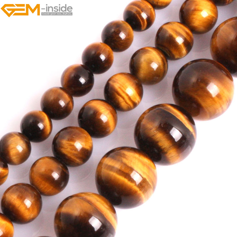 Gem-inside 6-12mm AAA Grade Genuine Natural Round Yellow Tiger Eye Precious Stone Beads For Jewelry Making Beads DIY Beads цена и фото