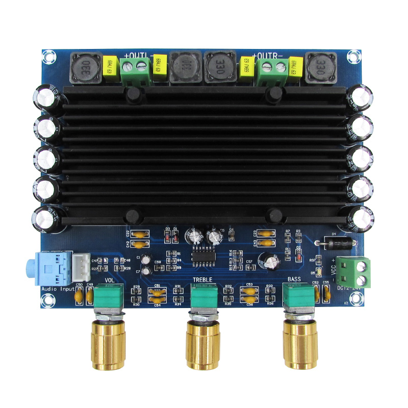 tones with 150w*2 digital power amplifier board TPA3116D2 digital audio amplifier board 2.0 channels power audio 4channels amplifier blue board amplifier with 3300uf capacitors