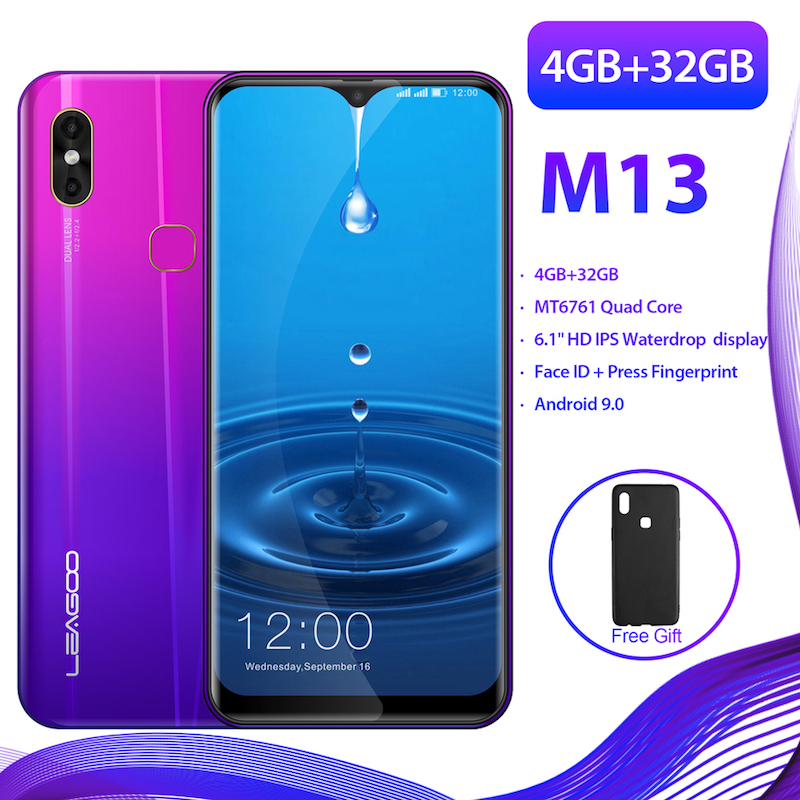 """LEAGOO M13 Android 9.0  6.1"""" 19:9 Waterdrop Smartphone 4GB RAM 32GB ROM MT6761 Quad Core Fingerprint Face ID 4G  Mobile Phone-in Cellphones from Cellphones & Telecommunications    1"""