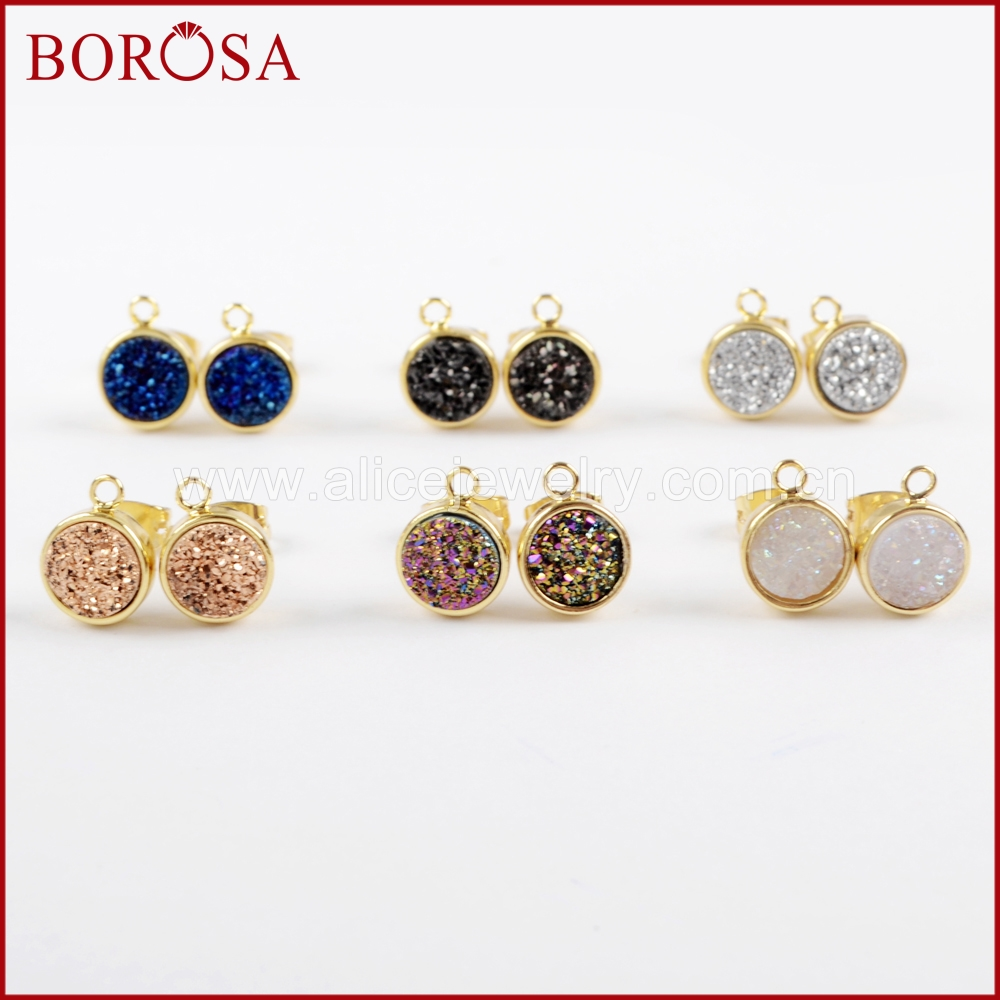 BOROSA 5Pairs Gold Color Round Natural Agates Titanium Rainbow Druzy Stud Charm Drusy Earrings Jewelry Findings for Women ZG0260