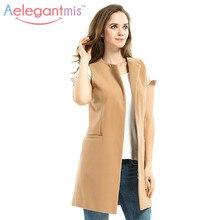 women autumn spring wool blend vest waistcoat lady office wear long waistcoat women coat casual sleeveless vest jacket