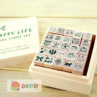 1set/lot Happy Life Diary stamp set DIY Wooden stamp Funny work Kids' zakka office school supplies(ss-1504) цена