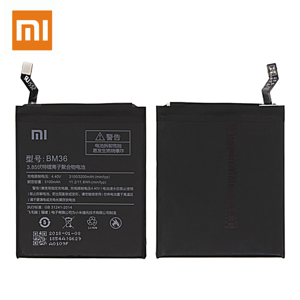 Xiao Mi 100 Original BM36 Replacement Battery For Xiaomi Mi 5S MI5S 3200mAh Real Capacity Rechargeable Phone Batteria Akku in Mobile Phone Batteries from Cellphones Telecommunications