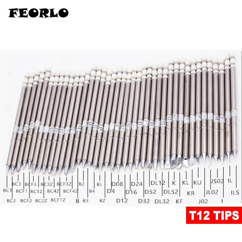 FEORLO T12 Series Soldering Iron Tips For HAKKO T12 Handle LED Vibration Switch Temperature Controller FX951 FX-952